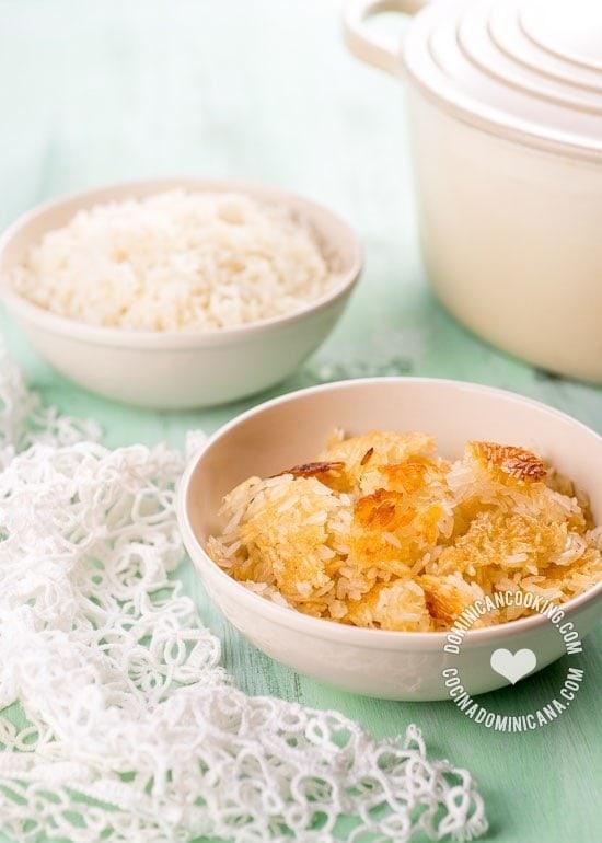 El Secreto del Concón Perfecto: Concón es la capa crujiente que se forma en el fondo del caldero al cocinar arroz al estilo dominicano. Aprende como hacerlo.