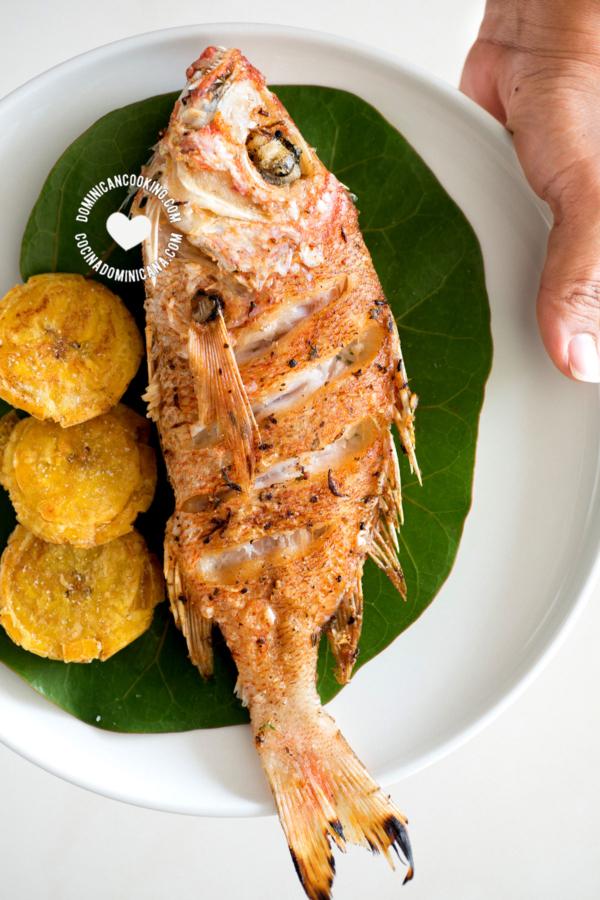 Pescado Frito sobre hojas de uva de playa, con tostones, sobre plato, mano lo sostiene