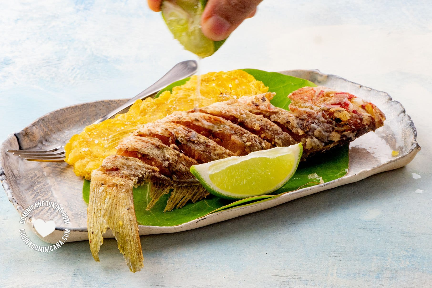 Pescado Frito sobre hojas de uva de playa, con tostones, mano exprime limón