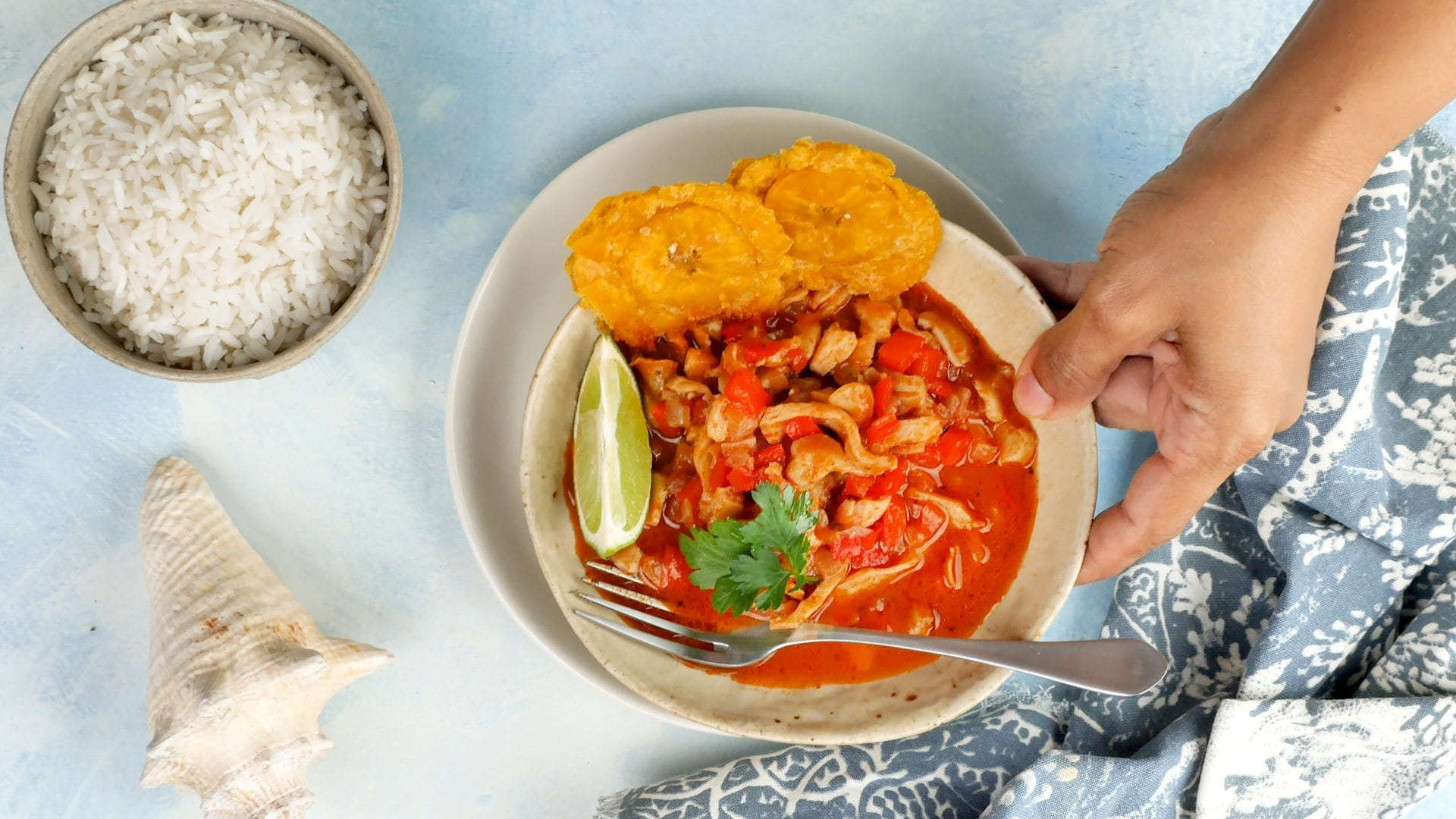 Sirviendo lambi guisaod, mano agarrando el plato