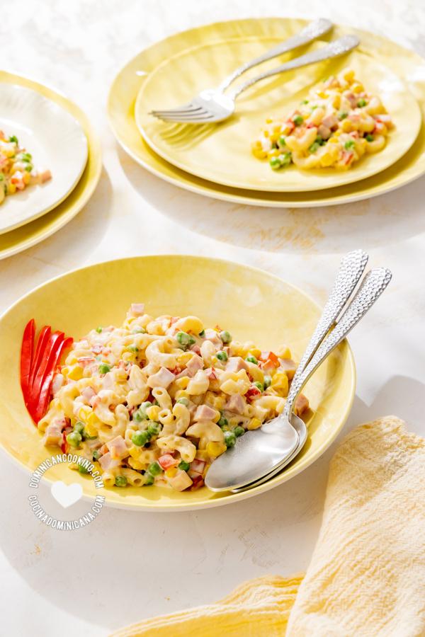 Platos de ensalada de pasta dominicana