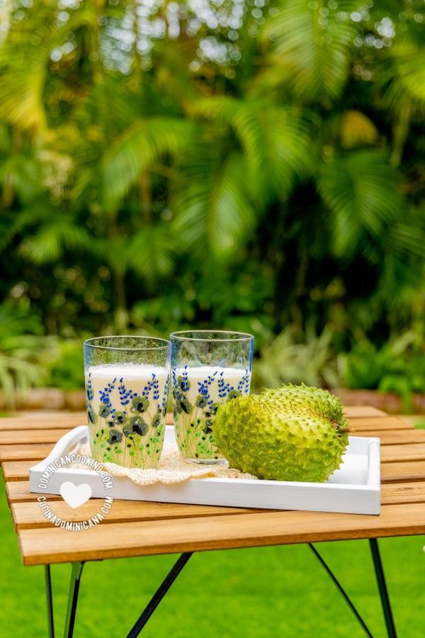 Champola de Guanábana servida en el jardín