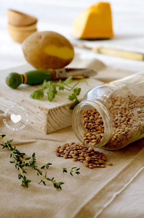 Ingredientes Caldo Vegano de Lentejas