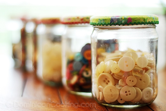 Organizing with Reused Jars: The trick to using jars for storage, and not make them look like you are a pack rat, is repetition. It makes it look