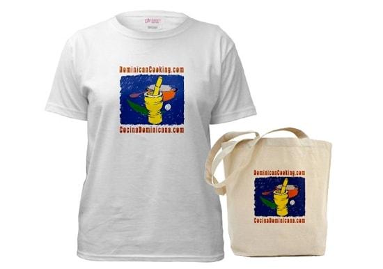 Camiseta, bolso y libro de cocina