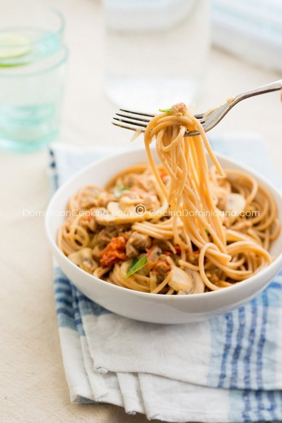 Whole-Wheat Pasta with Creamy Textured Soy Sauce Recipe: Healthy, filling and loaded with vegetables, this will please vegetarians and meat-eaters alike.