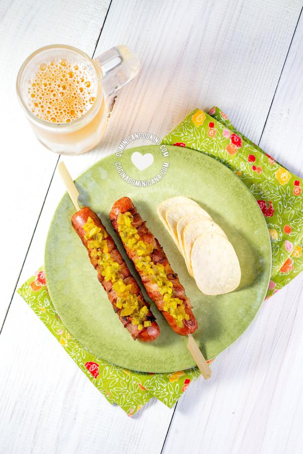 hot dog con tocineta sin pan