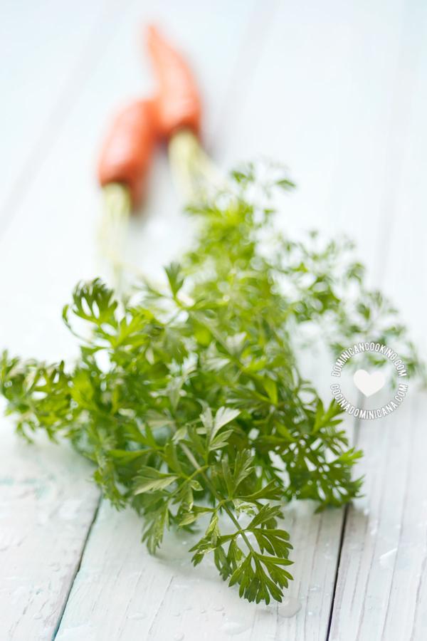 Zanahoria con las hojas