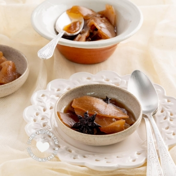 Soperitas con dulce de tayota en almíbar